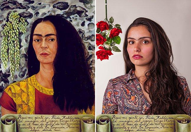 """Projeto lembra que qualquer mulher pode """"ser Frida Kahlo"""" ao recriar obras da artista em fotografia"""