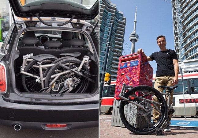 """A bicicleta """"mais compacta do mundo"""" tem rodas grandes e cabe na sua mala"""