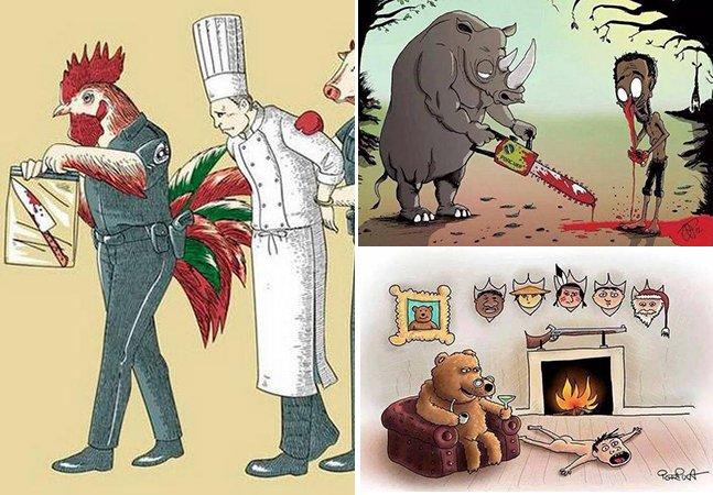 Série de ilustrações ácida mostra como seria se animais se comportassem como humanos