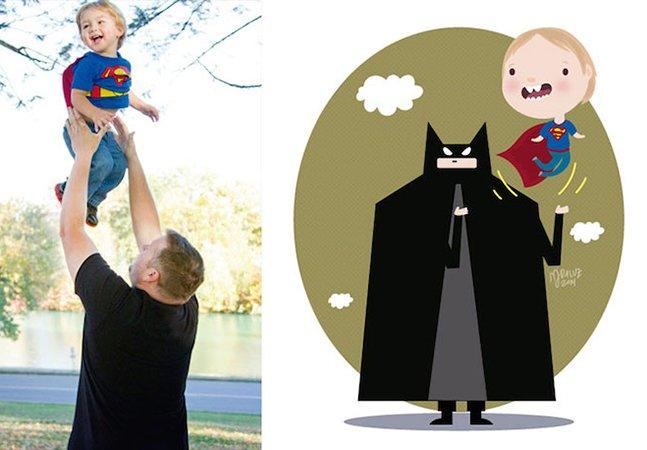 Artista transforma fotos de crianças em divertidas ilustrações