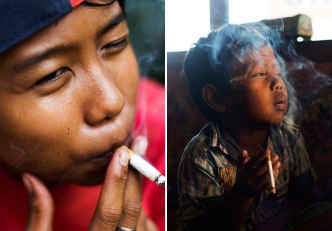 Fotógrafo capta a chocante realidade de crianças viciadas em cigarro