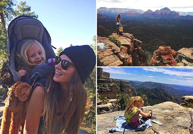 A mãe que faz escaladas pelo mundo com a filha de 3 anos nas costas