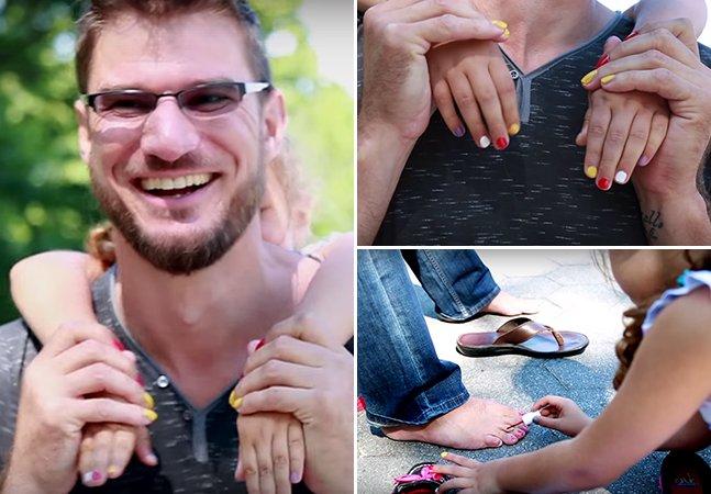 Pai pinta as unhas com a filha de 6 anos para que ela cresça sem estereótipos de gênero