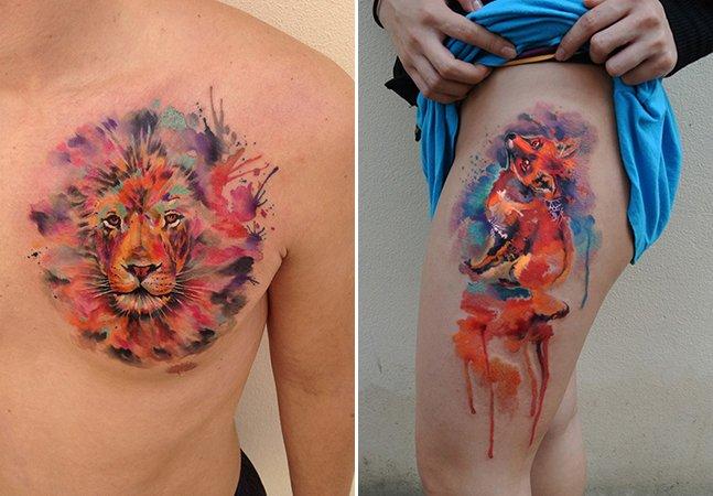O artista que faz apenas uma tatuagem por dia para garantir que suas aquarelas ficam perfeitas