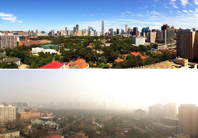 Pequim baniu milhões de carros da cidade para que o céu azul voltasse a ser visto