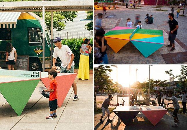 Projeto instala mesas de ping pong por SP pra estimular uso dos espaços urbanos