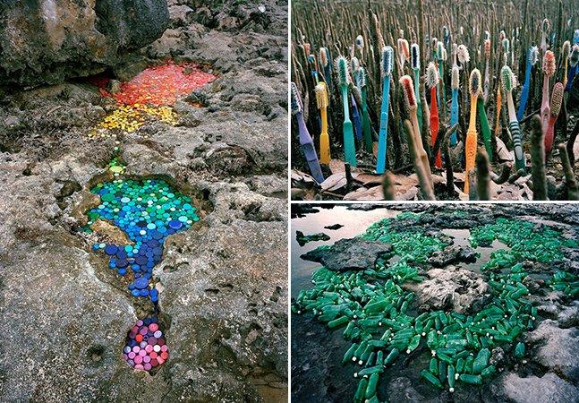 Série de esculturas coloridas mostra o que está acontecendo com o plástico que jogamos fora