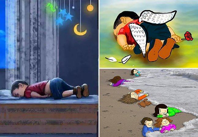 Ilustradores do mundo inteiro prestam homenagem após tragédia com criança síria