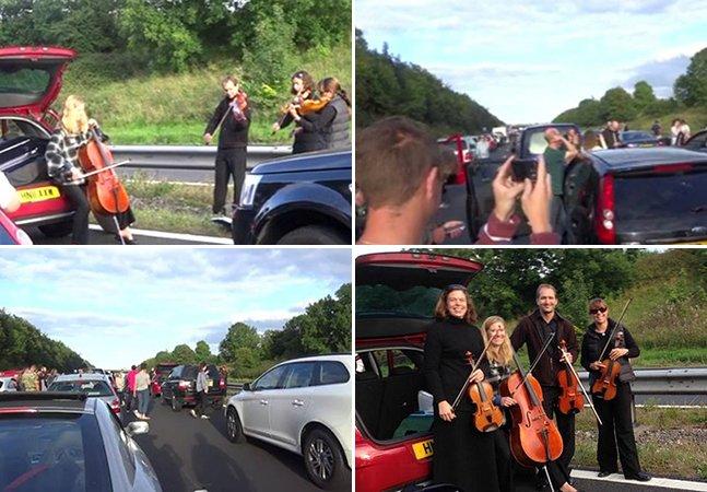 Banda de música clássica improvisa performance no trânsito para aliviar stress dos motoristas