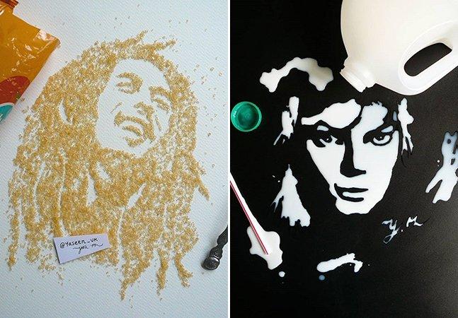 Artista usa comida para criar retratos realistas de personagens famosos