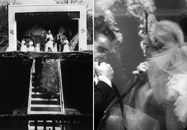 O incrível casamento subaquático feito por um casal na década de 50