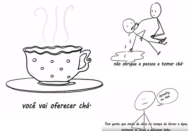 Vídeo divertido usa chá para explicar porque você nunca deve forçar a barra com uma mulher