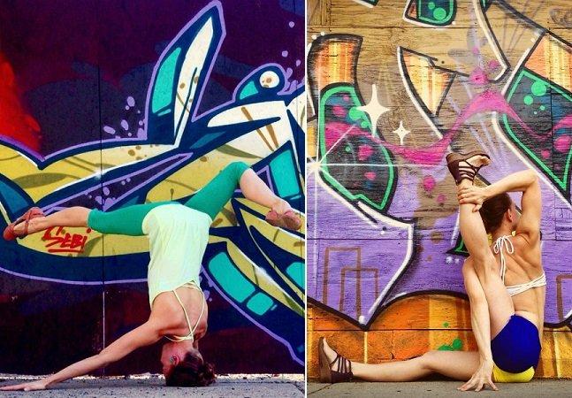 Professora de yoga e amante de street art faz sucesso no Instagram ao unir suas duas paixões