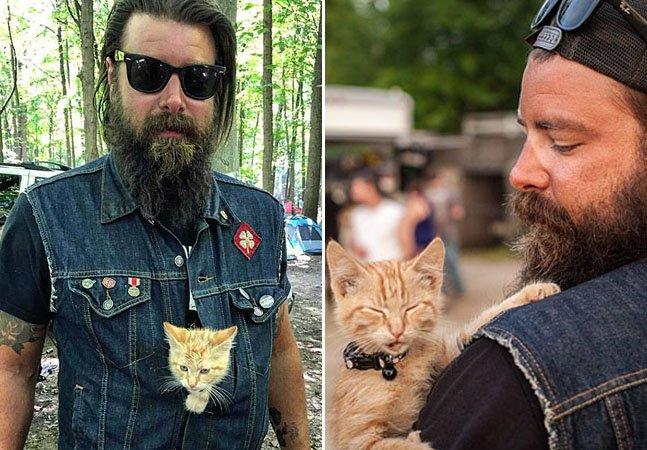 Motoqueiro salva a vida de gato na estrada e viaja com ele pelos EUA