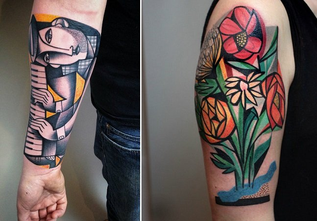 As novas e coloridas tatuagens cubistas do artista Peter Aurisch
