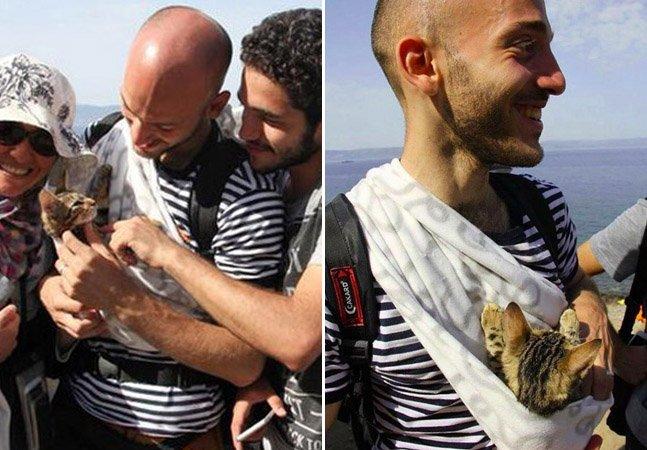 O refugiado sírio que cruzou o Mediterrâneo com seu gato no colo