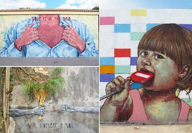 Grafiteiro espanhol usa criatividade para criar fantásticos murais nas ruas