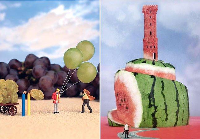 Artista brasileiro usa miniaturas e alimentos para criar verdadeiros mundos paralelos