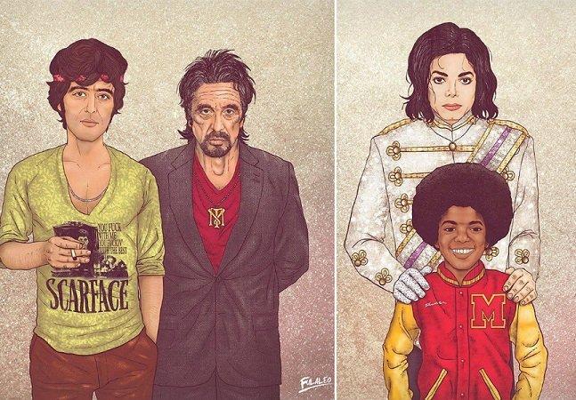 Série de ilustrações incríveis retrata famosos e suas versões mais jovens