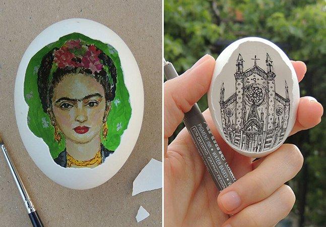 Artista usa casca de ovos para recriar pinturas famosas
