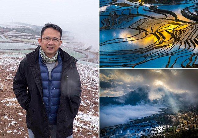 Fotógrafo capta os reflexos nos campos de arroz da China em imagens incríveis