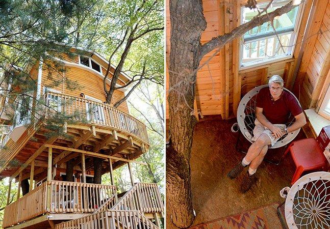 Avô constrói incrível casa na árvore com três andares para seus netos