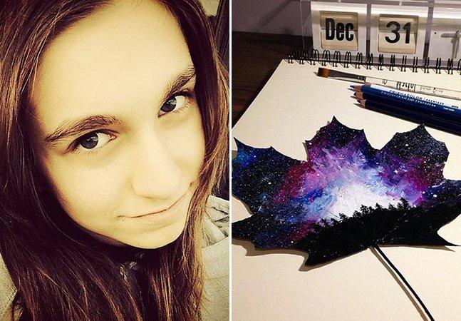 Jovem de 16 anos usa folhas caídas para criar obras de arte e provar que não precisamos cortar árvores para pintar
