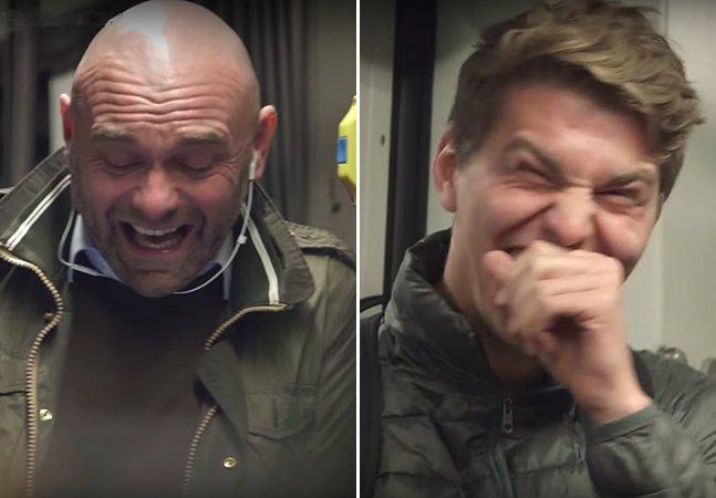 Para espalhar felicidade, campanha incrível coloca homem dando gargalhadas no metrô