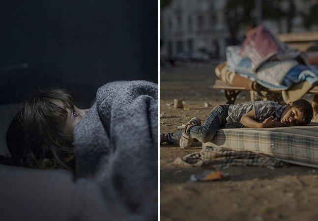 Fotógrafo retrata como dormem as crianças sírias que fugiram da guerra