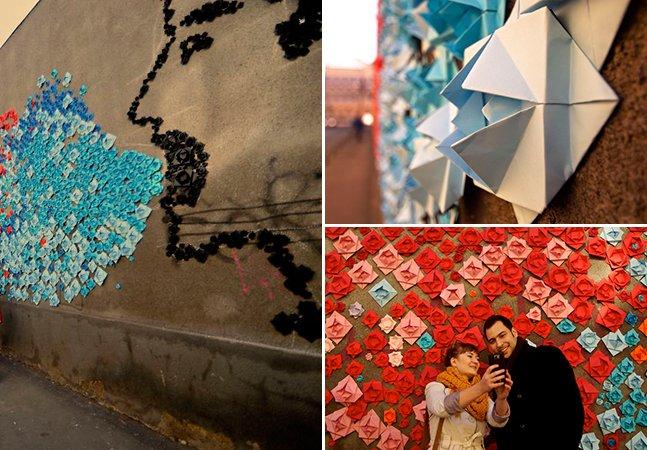 Muro contra a discriminação é coberto por 15 mil origamis e forma intervenção artística incrível na Romênia