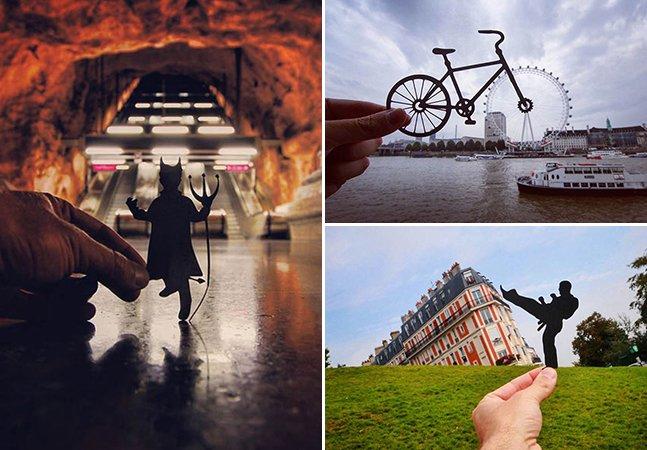Fotógrafo usa recortes de papel para transformar lugares icônicos pelo mundo