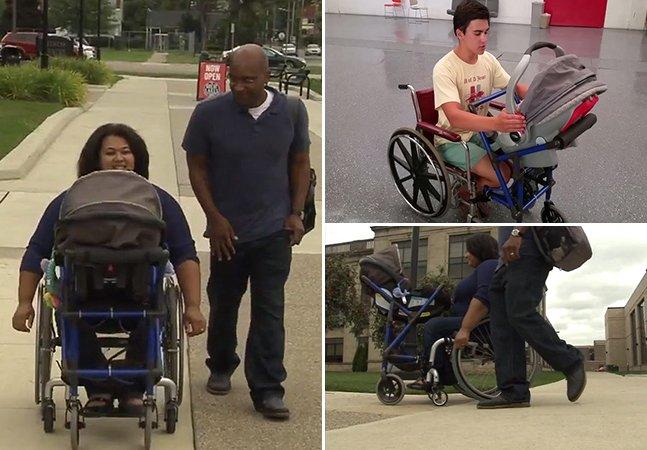 Garoto de 16 anos cria cadeira de rodas especial para que mãe com deficiência possa levar seu bebê para passear