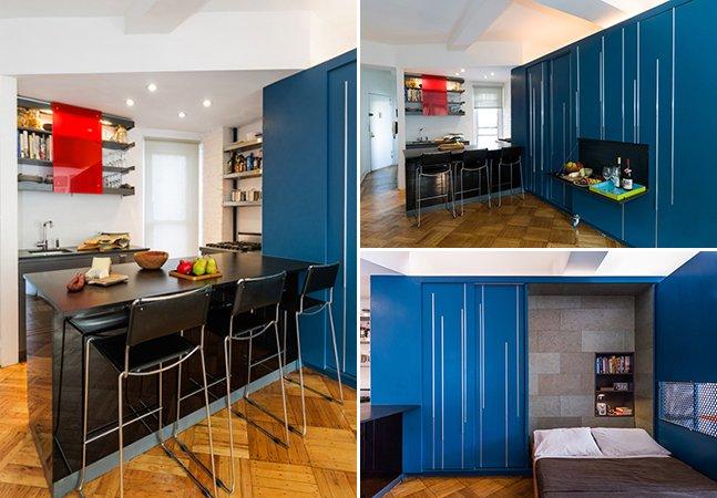 O incrível apartamento de 35 m² com mobília escondida para receber amigos