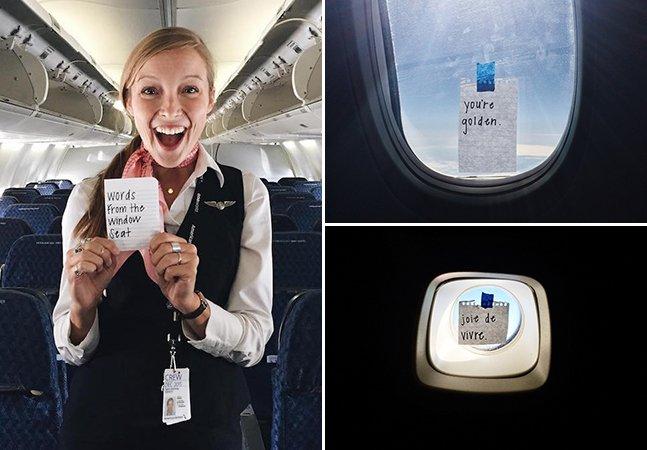 Comissária de bordo deixa recados inspiradores escondidos para os passageiros