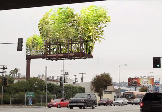 O artista que quer transformar outdoors publicitários em jardins de bambu