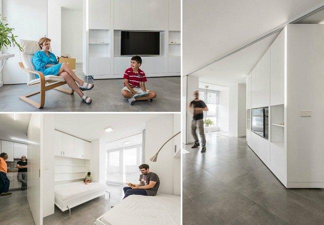 Arquitetos criam apartamento inovador com paredes móveis que se adaptam a qualquer ocasião