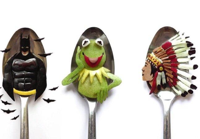 Artista usa colheres para criar incríveis obras com comida