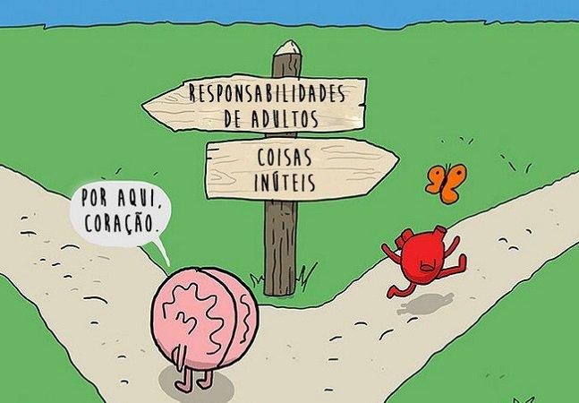 Série de ilustrações retrata o eterno dilema entre razão e coração