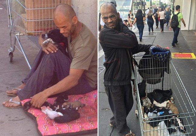 Conheça o morador de rua que vendeu tudo o que tinha para poder cuidar dos filhotes de sua cadelinha
