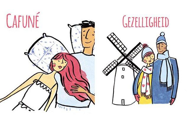 """Série de ilustrações mostra palavras carinhosas """"intraduzíveis"""" em diversas línguas"""