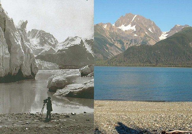 """Série assustadora mostra o """"antes e depois"""" de geleiras e o quanto elas derreteram em 100 anos"""