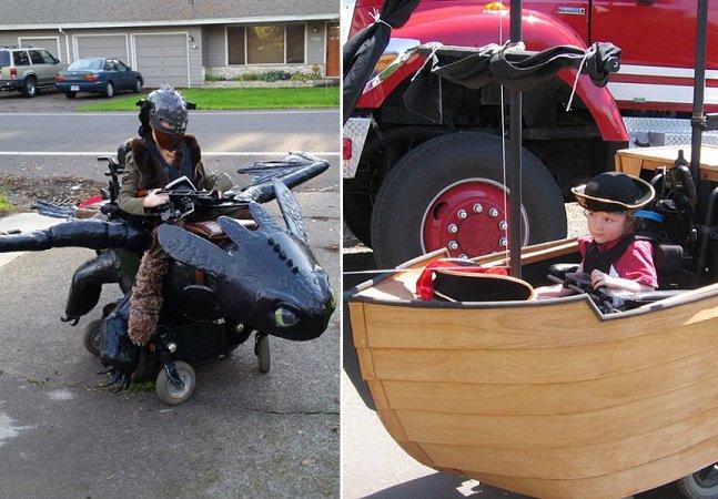 O pai inspirador que está tornando mais feliz o Halloween de crianças em cadeira de rodas