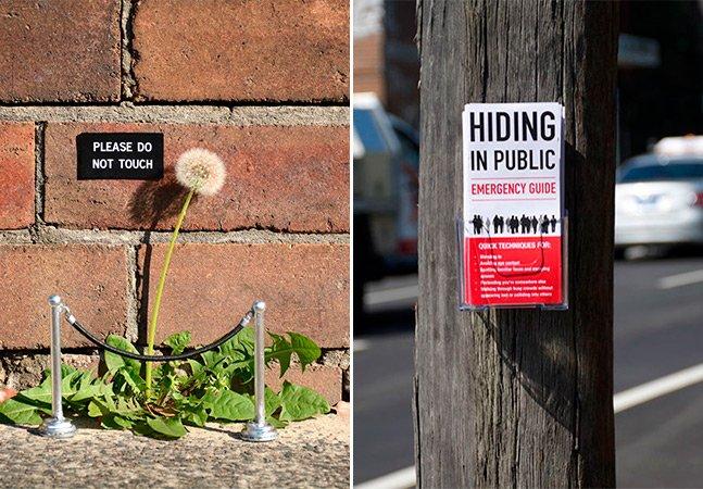 Artista espalha intervenções com mensagens divertidas pela cidade