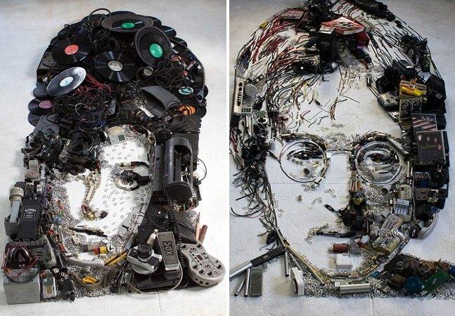 Artista brasileiro usa objetos musicais descartados para criar retratos realistas de personalidades famosas