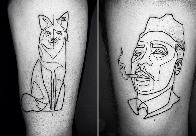 Artista cria tatuagens de uma linha só para mostrar a beleza das coisas simples