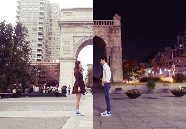 """Casal com relacionamento à distância se """"une"""" de forma criativa através de suas cidades favoritas"""
