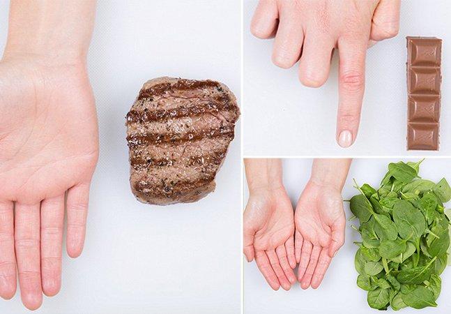 """Nutricionista usa a mão para mostrar o quanto é """"uma porção"""" de cada alimento"""