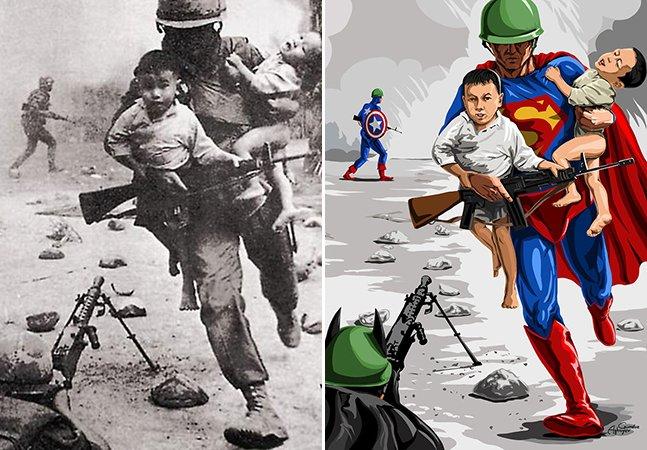 Ilustrador transforma fotos tristes de crianças em guerras em ilustrações cheias de esperança