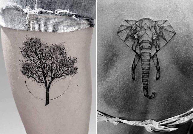 Artista mostra a beleza do mundo natural com tatuagens minimalistas feitas com milhares de pontos
