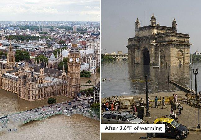 Artista imagina como serão pontos turísticos pelo mundo se o nível das águas continuar subindo